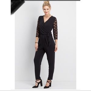 Maurices Black Wrap Stretch Jumpsuit Large